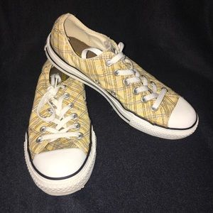 Converse All Star yellow plaid sneakers